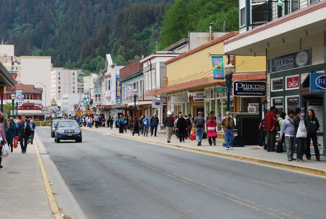 Franklin Street in downtown Juneau, Alaska packed with cruise ship visitors