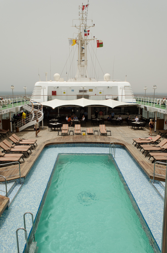 Another hot, foggy day greeted guests aboard the Silver Wind this morning. Photo © 2015 Aaron Saunders