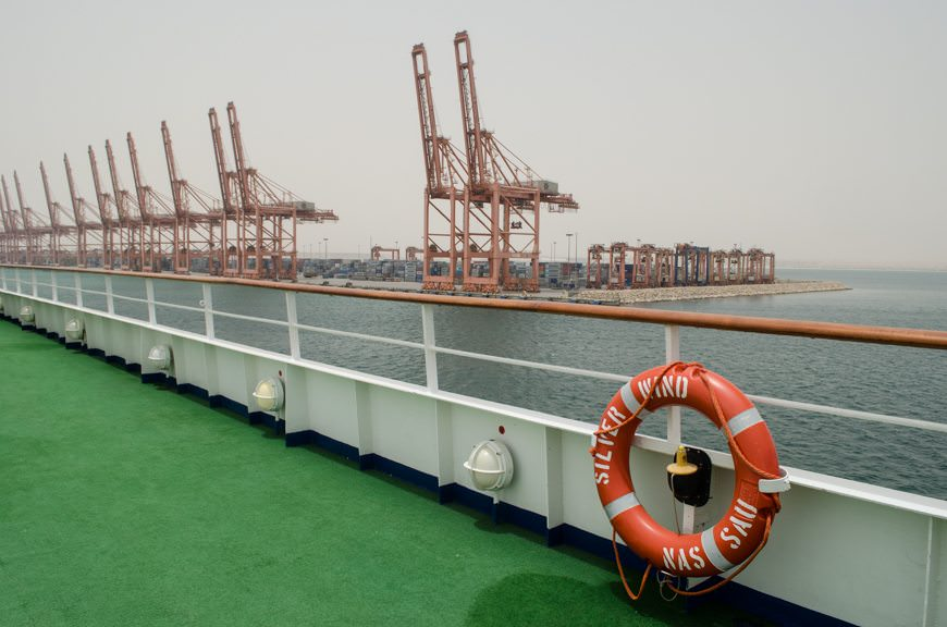 Salalah is a major industrial port that is located 21 kilometres (13 miles) away from the city center. Taxis to the city can run as high as $100 per person - this is definitely the place you want to do a shore excursion in! Photo © 2015 Aaron Saunders