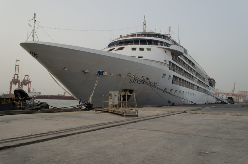 Silver Wind docked in Salalah, Oman on Tuesday, April 7, 2015. Photo © 2015 Aaron Saunders