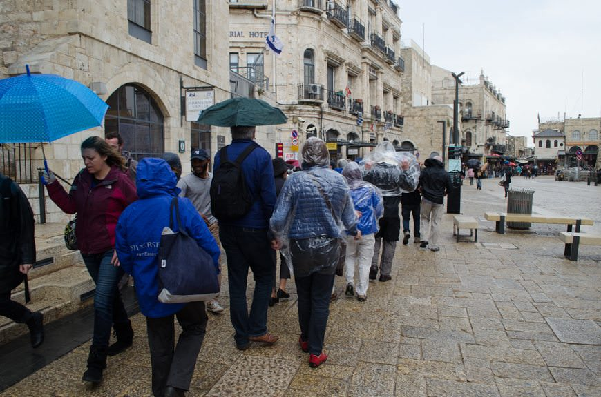 Having just passed through the historic Jaffa Gate in the rain...Photo © 2015 Aaron Saunders