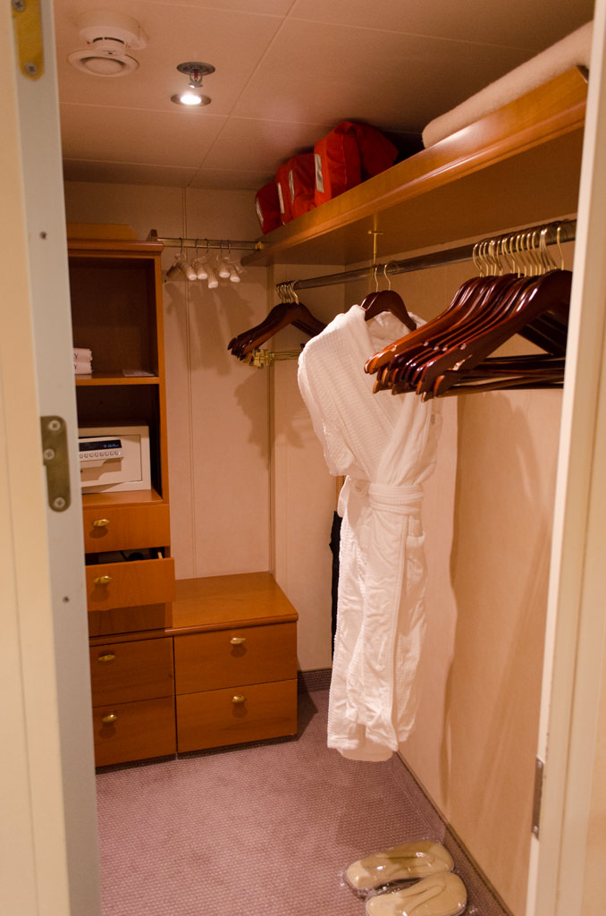 The walk-in closet provides ample storage for even this 15-day voyage. Photo © 2015 Aaron Saunders