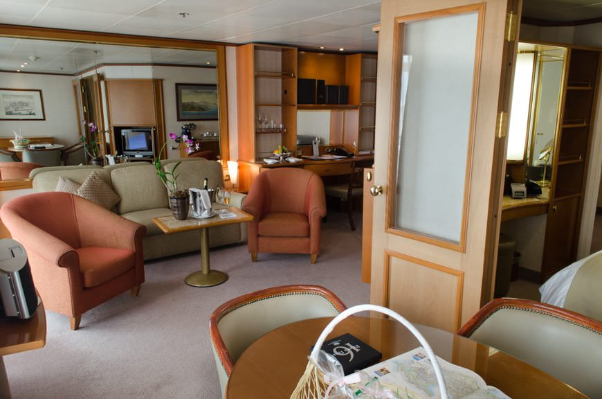 My Silver Suite by day. Even relaxing in your suite can be considered a worthwhile activity on a day at sea aboard a Silversea ship! Photo © 2015 Aaron Saunders