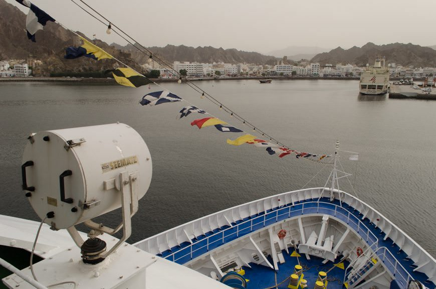 Muscat, Oman as seen from Deck 9 of the Silver Wind, facing forward. Photo © 2015 Aaron Saunders