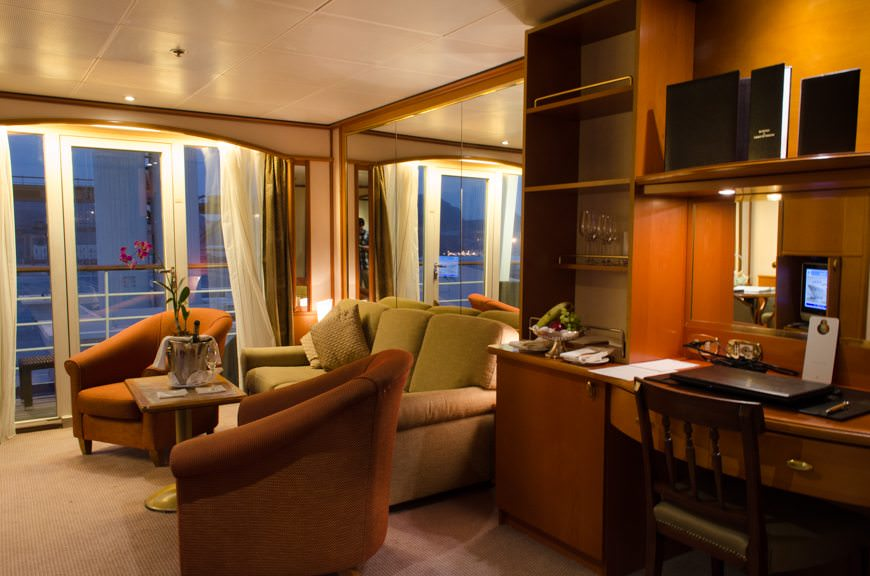 Silver Suites aboard the Silver Wind feature separate living, dining and sleeping areas. Photo © 2015 Aaron Saunders