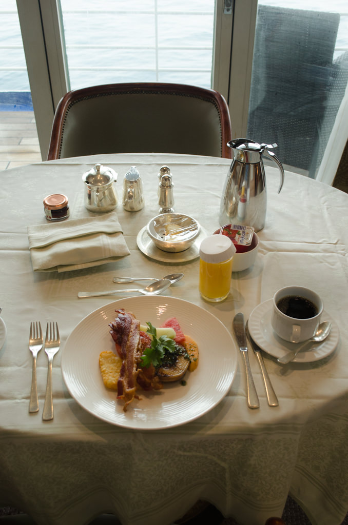 It's all about the little details on Silversea. Why go down to breakfast when you can have it brought up to you, in every suite category? Photo © 2015 Aaron Saunders