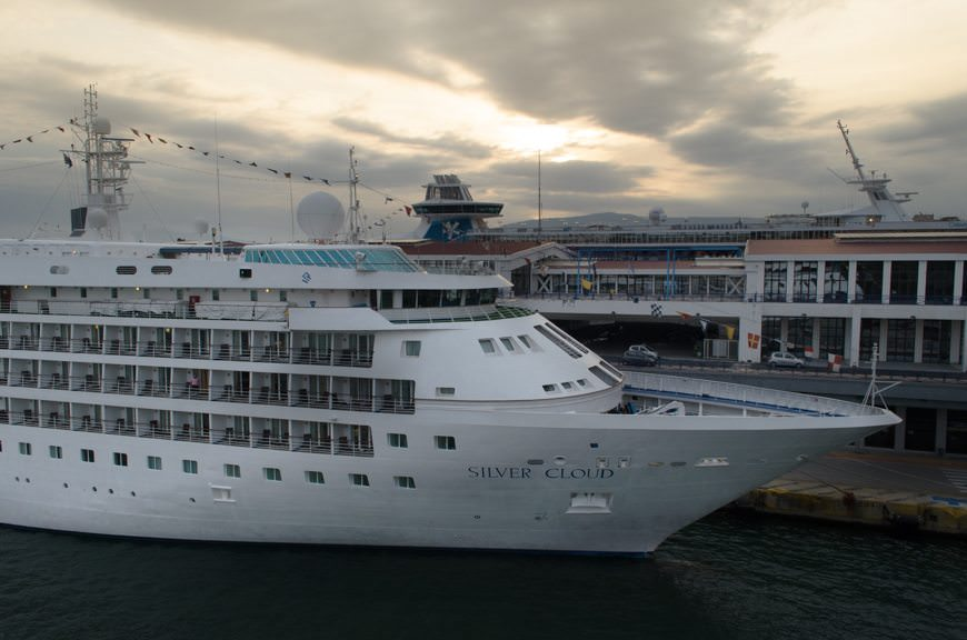 Silversea's 1994-built Silver Cloud looking resplendent in the dawn light in Piraeus, Greece on Monday, April 20, 2015. Photo © 2015 Aaron Saunders