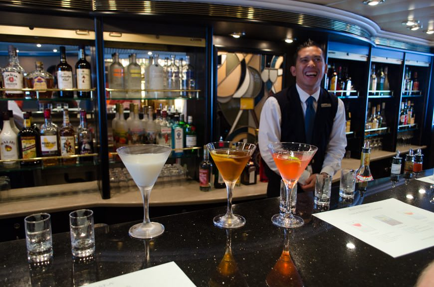 Nothing like a Martini Tasting in The Bar on Deck 5 to kick the morning into high gear! Photo © 2015 Aaron Saunders