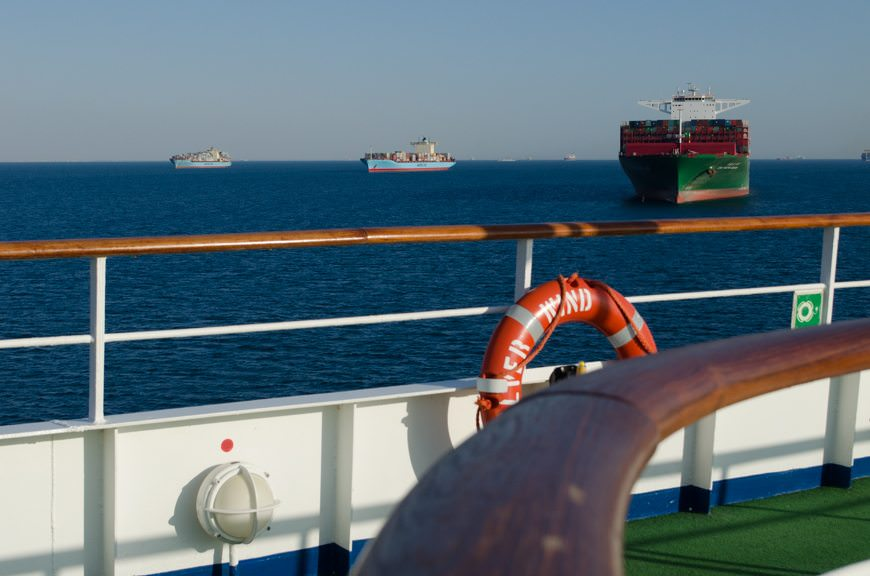 Ships of all shapes and sizes were out in the Suez Canal today...a ship-spotter's paradise. Photo © 2015 Aaron Saunders
