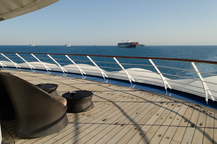Transiting the Suez Canal today aboard Silversea's Silver Wind was a decidedly unique experience. Photo © 2015 Aaron Saunders