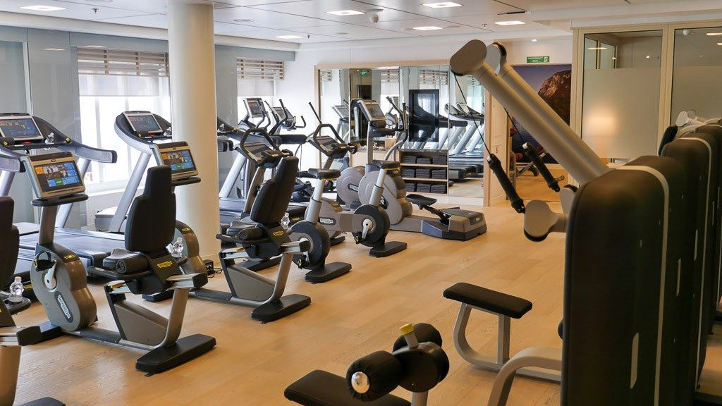 A well-equipped fitness center. © 2015 Ralph Grizzle