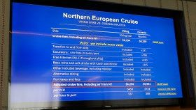 Pricing comparison chart that Torstein Hagen presented to media on Viking Star. © 2015 Ralph Grizzle