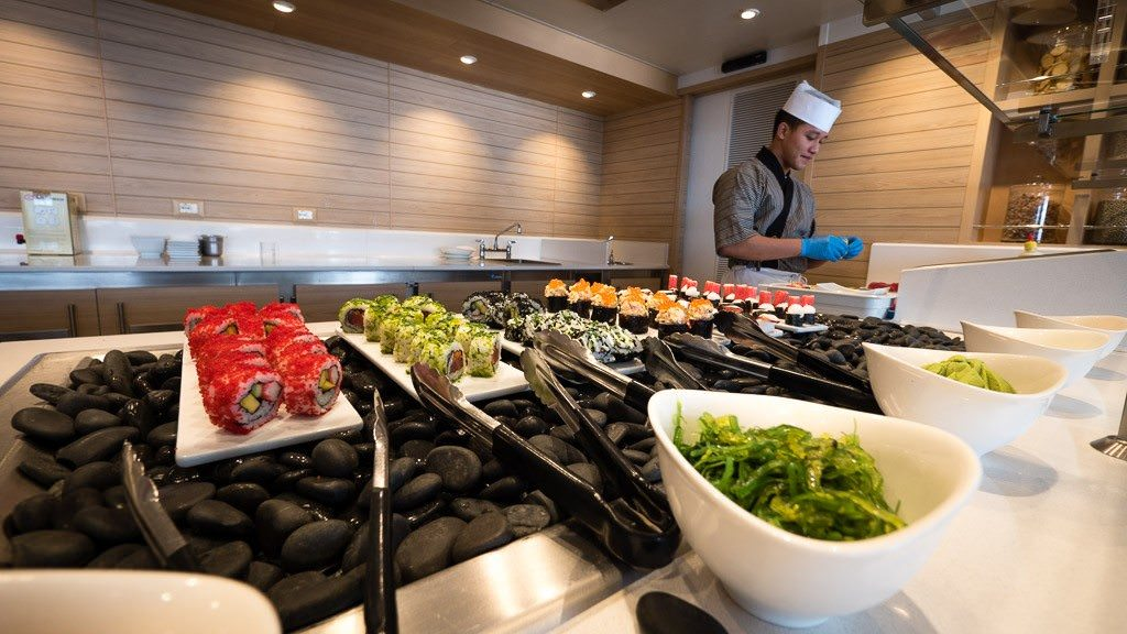 Great sushi in the World Cafe on Viking Star. ©2015 Ralph Grizzle