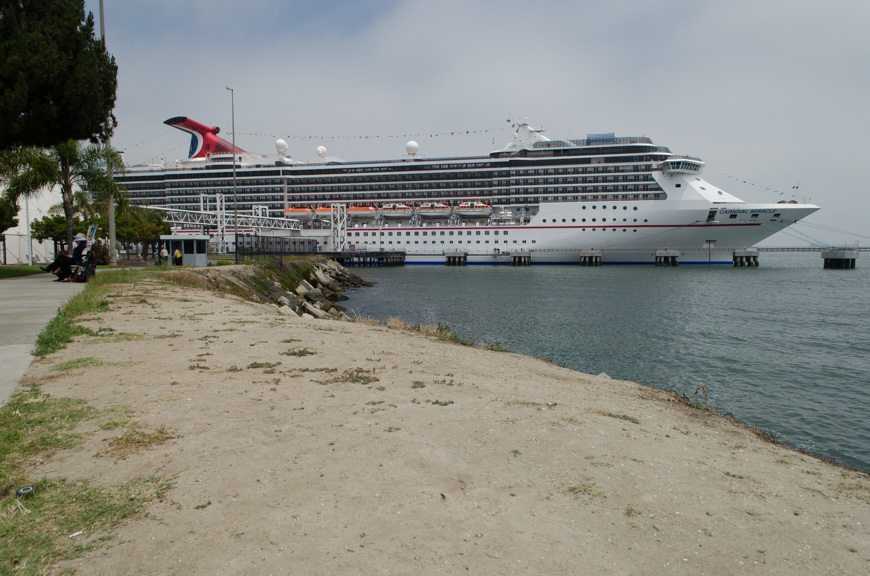 Carnival Cruise Line's Carnival Miracle docked in the Port of Long Beach, California on Saturday, May 30, 2015. Photo © 2015 Aaron Saunders