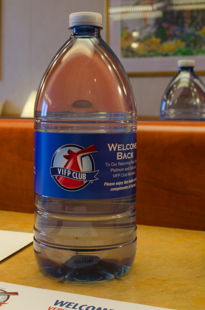 I've finally advanced to the echelon of a past Carnival guest...and past guests get one free bottle of water. Photo © 2015 Aaron Saunders