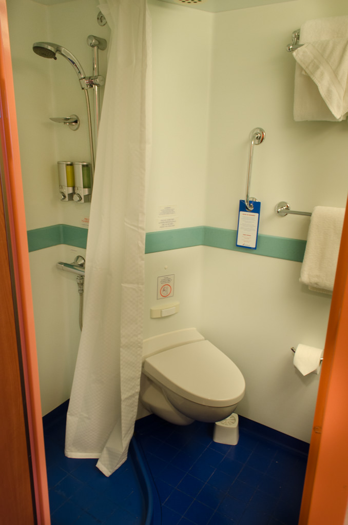 Stateroom bathrooms are basic, but relatively spacious. Photo © 2015 Aaron Saunders