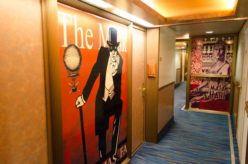 I love the vintage Broadway posters that adorn the Deck 6 corridor. Photo © 2015 Aaron Saunders