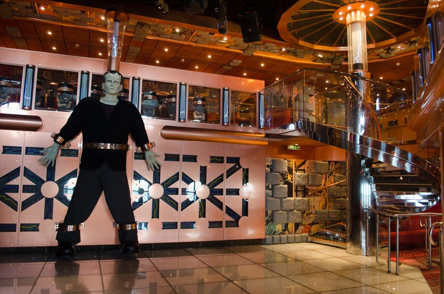 Dr. Frankenstein's Lab Dance Club is located on Deck 2 aft, and spans two decks in height. Photo © 2015 Aaron Saunders