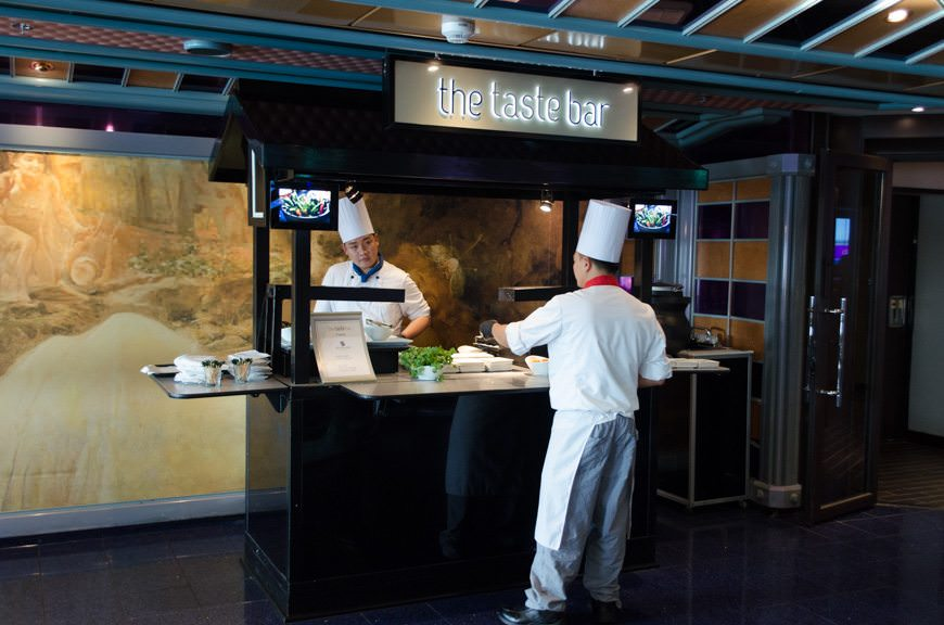 The Taste Bar is located on Deck 2 forward next to the Fountainhead Cafe, and provides small bites of select Carnival specialty dishes. Photo © 2015 Aaron Saunders