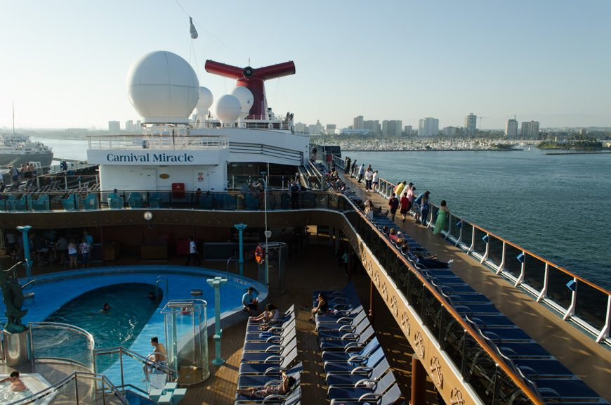 The View From Up Top: Carnival Miracle gets underway, and the Sailaway Party gets into full swing. Photo © 2015 Aaron Saunders