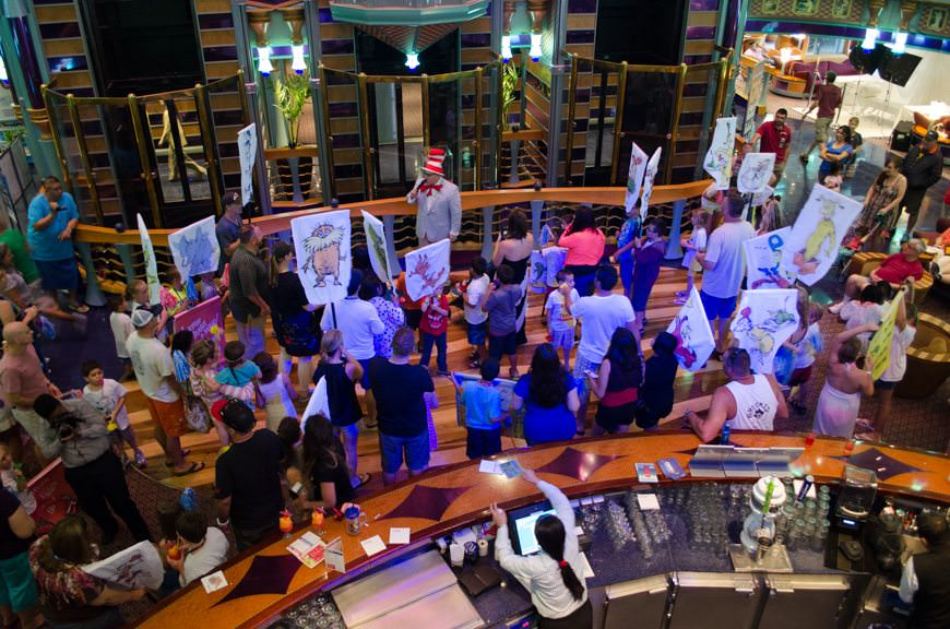 This afternoon, families assembled in Carnival Miracle's atrium on Deck 2 for the Seuss at Sea parade... Photo © 2015 Aaron Saunders
