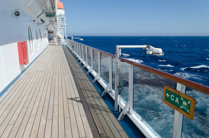 The view from Carnival Miracle's Promenade Deck, located on Deck 3. Photo © 2015 Aaron Saunders
