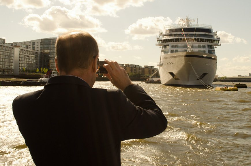 A guest takes a snapshot of Viking Star on her maiden call in Greenwich, England on May 12, 2015. Photo © 2015 Aaron Saunders