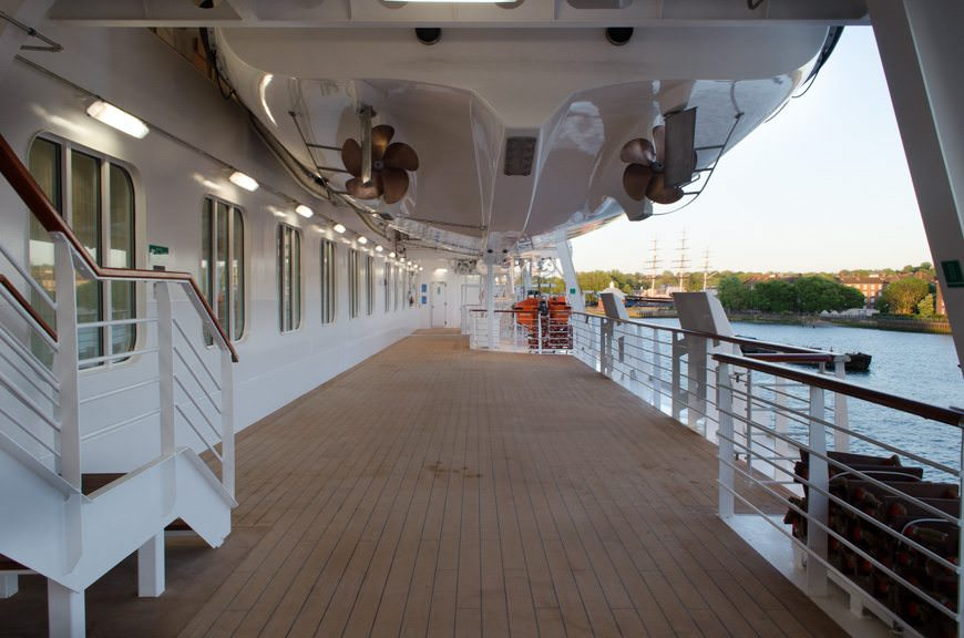 Viking Star's spacious promenade deck, photographed during our evening in Greenwich, England. Photo © 2015 Aaron Saunders