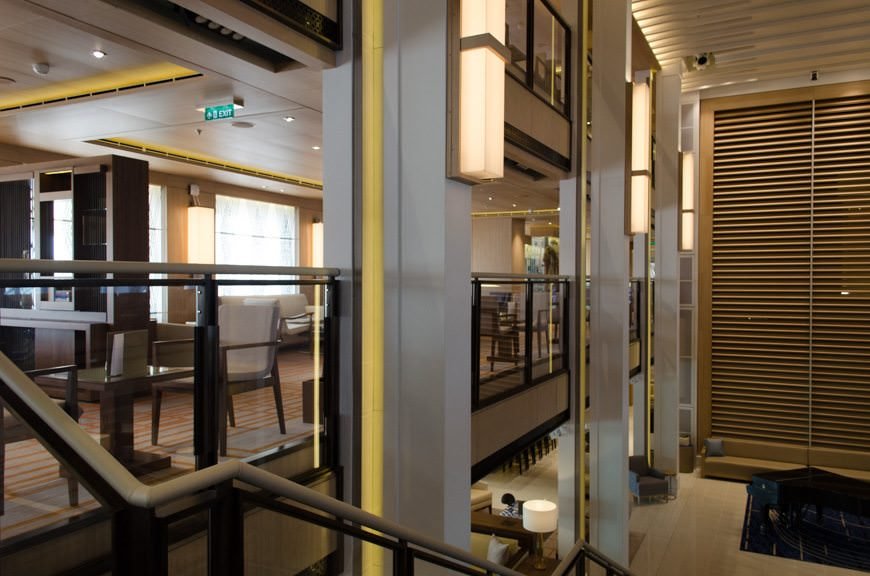 """Viking Star's atrium houses three stories of comfortable seating known as """"The Living Room."""" Photo © 2015 Aaron Saunders"""