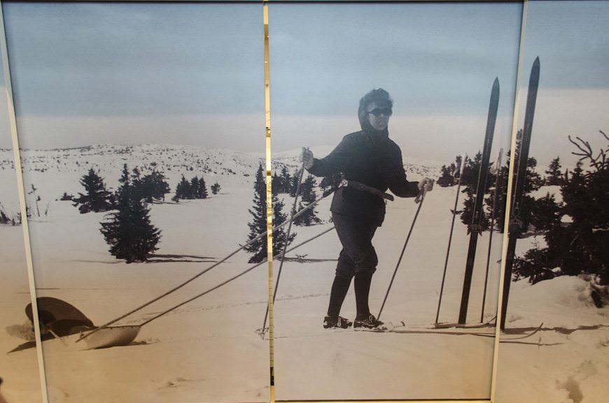 """When closed, Mamsen's displays a blown-up photograph of """"Mamsen"""" pulling a young Karine Hagen across the snow-covered Norwegian landscape. Photo © 2015 Aaron Saunders"""