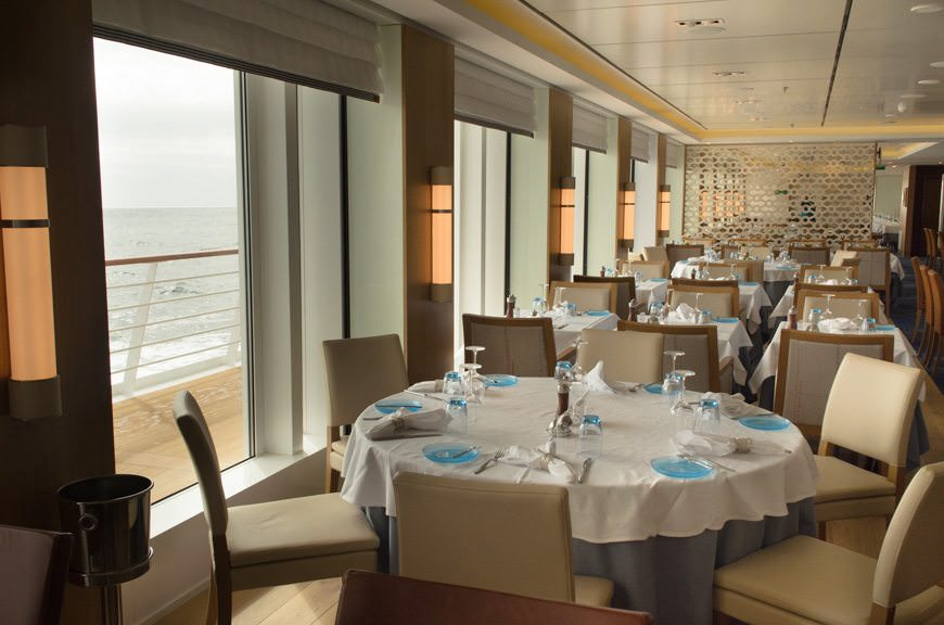 The main Restaurant aboard Viking Star. The windows you see here can completely open to let fresh air in when weather allows. Photo © 2015 Aaron Saunders