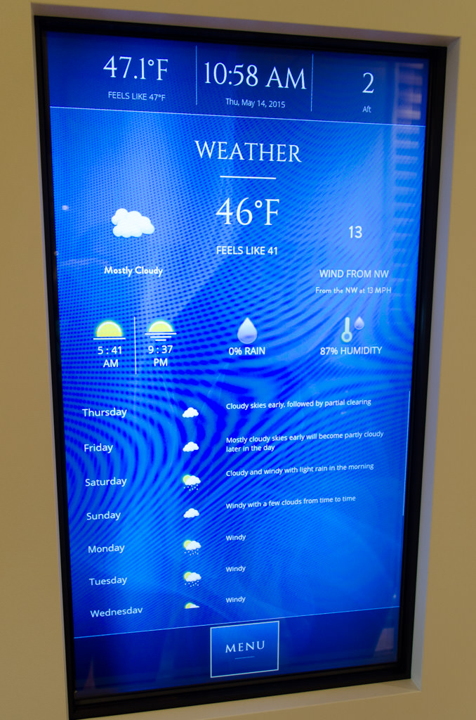 Another nice touch: interactive touch-screen displays mounted near elevator banks that even display the weather forecast. Photo © 2015 Aaron Saunders