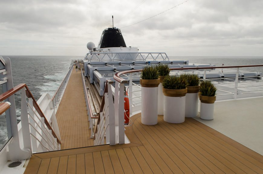 Strolling along Viking Star's uppermost decks this morning. Photo © 2015 Aaron Saunders