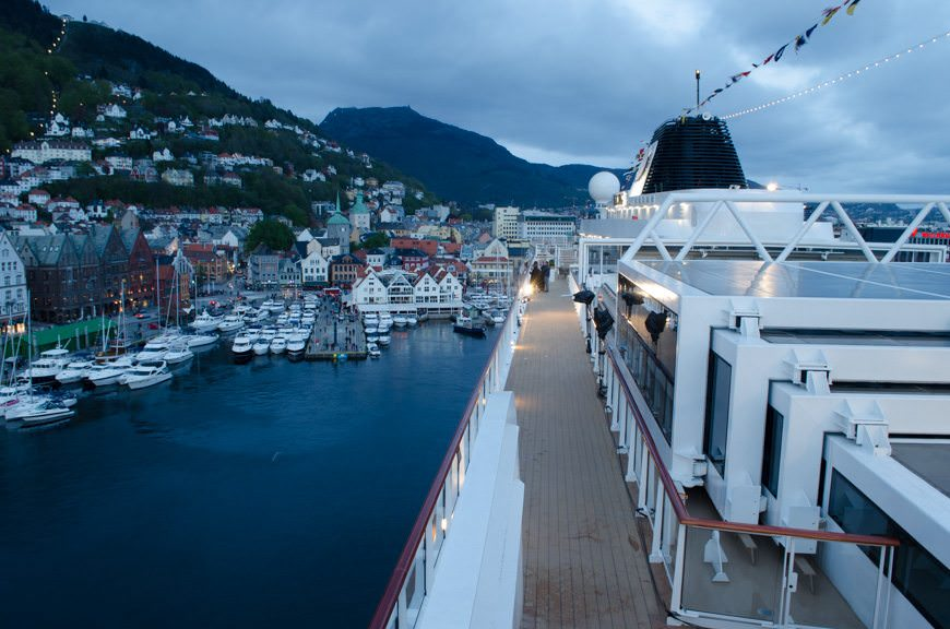 "Stay tuned...we're just hours away from christening Viking's new Viking Star here in Bergen, Norway! Photo taken during the ""dress lighting run"" in Bergen on May 15, 2015. Photo © 2015 Aaron Saunders"