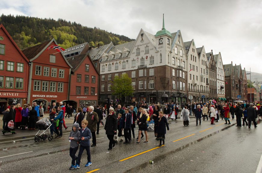 Norwegian Constitution Day is in full swing here in Bergen, Norway! Photo © 2015 Aaron Saunders