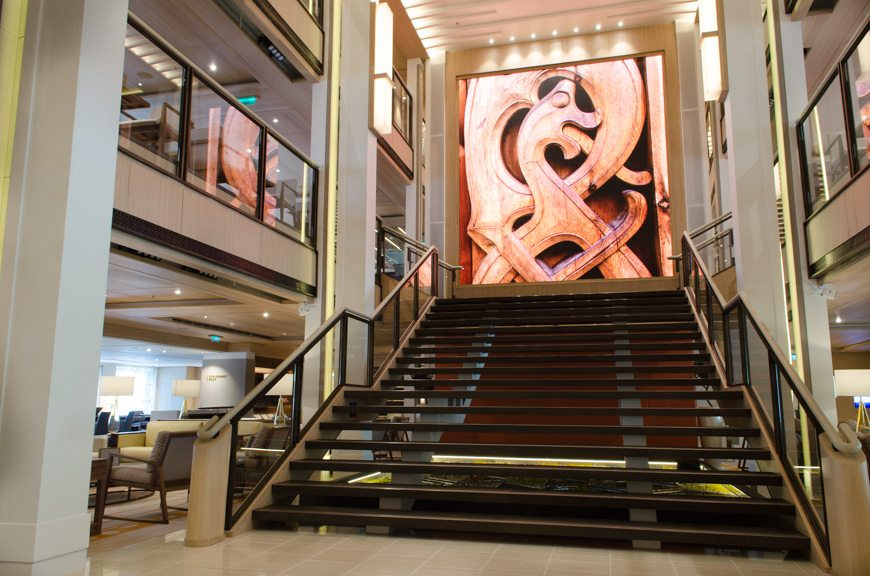 Viking Star's Atrium lobby, as seen on May 16, 2015. Photo © 2015 Aaron Saunders