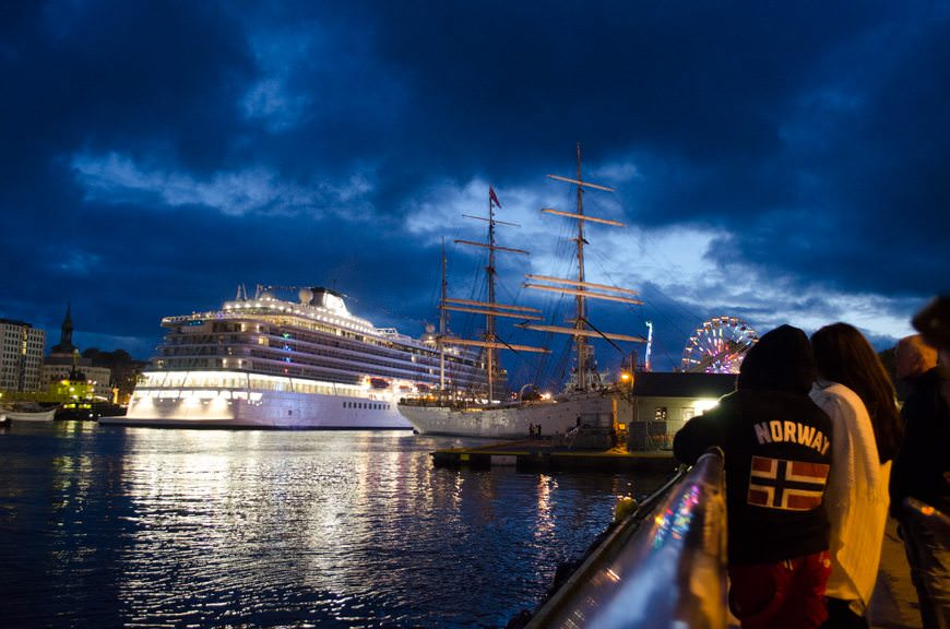 Viking Star leaves Bergen, Norway for the first - but not the last - time. Photo © 2015 Aaron Saunders