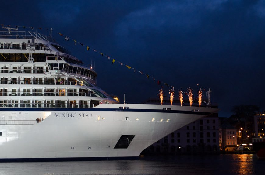 With a burst of fireworks, Viking Star is christened. Photo © 2015 Aaron Saunders