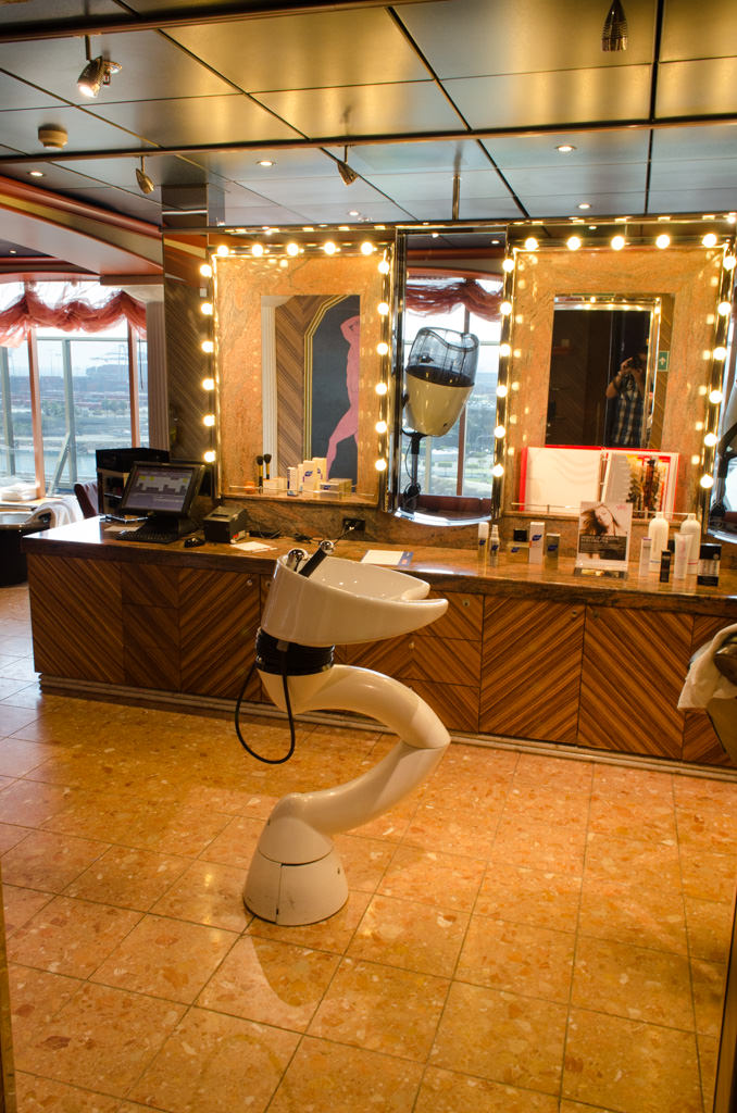 The Salon aboard Carnival Miracle is located on the starboard side of Spa Carnival. Photo taken on Day 1 in Long Beach. Photo © 2015 Aaron Saunders