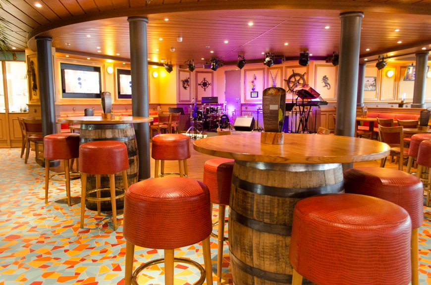 The RedFrog Pub is a new addition to Carnival Miracle (March 2015), but on my sailing, it's already a huge hit – particularly for nightly Pub Trivia! Photo © 2015 Aaron Saunders