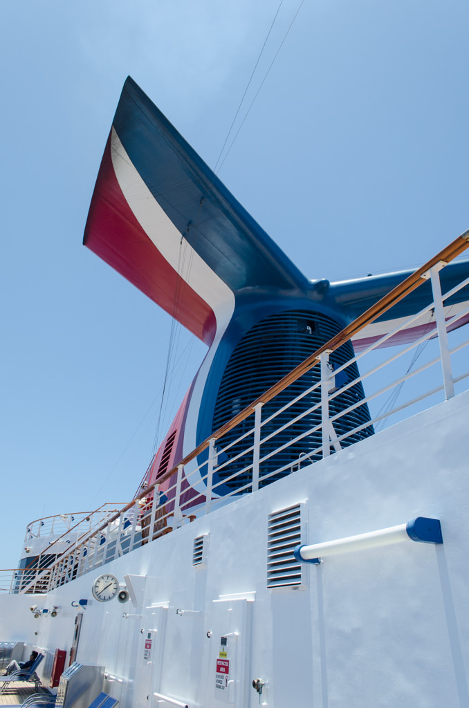 A look at Carnival's iconic funnel, standing proudly atop Carnival Miracle. Photo © 2015 Aaron Saunders
