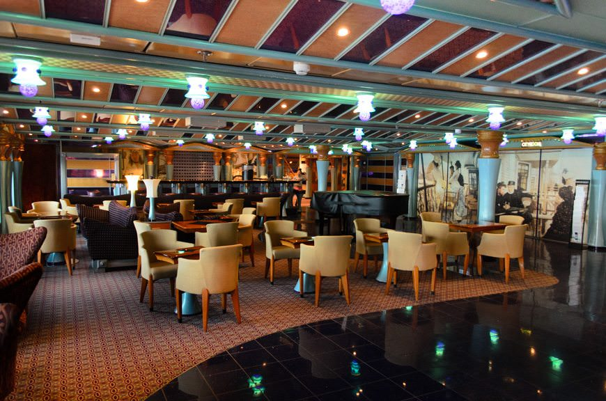 Carnival Miracle's Gotham Lounge, Deck 3 aft. Photo © 2015 Aaron Saunders