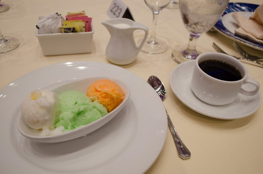 I have no idea what Carnival puts in their sorbet, and I don't want to know. It's just darn good! From left to right: pineapple, lime, and mango. Photo © 2015 Aaron Saunders