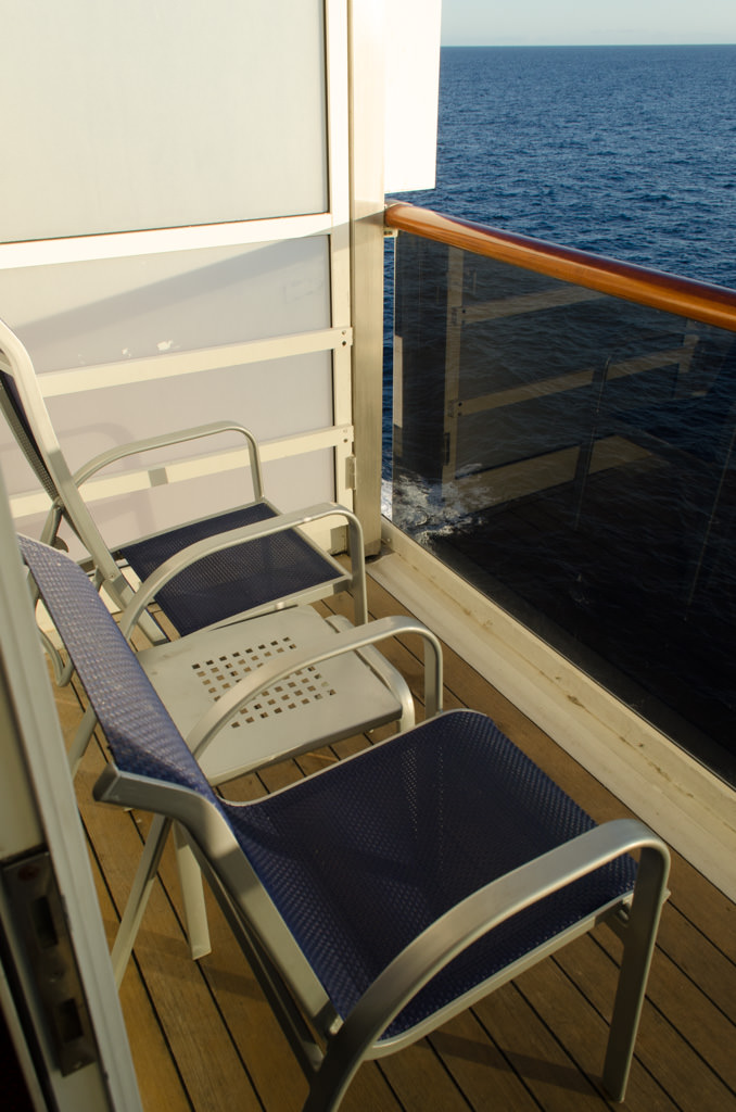 A balcony stateroom is an absolute must on this run: temperatures are warm enough, even when sailing out of Long Beach, to make full use of it. Photo © 2015 Aaron Saunders