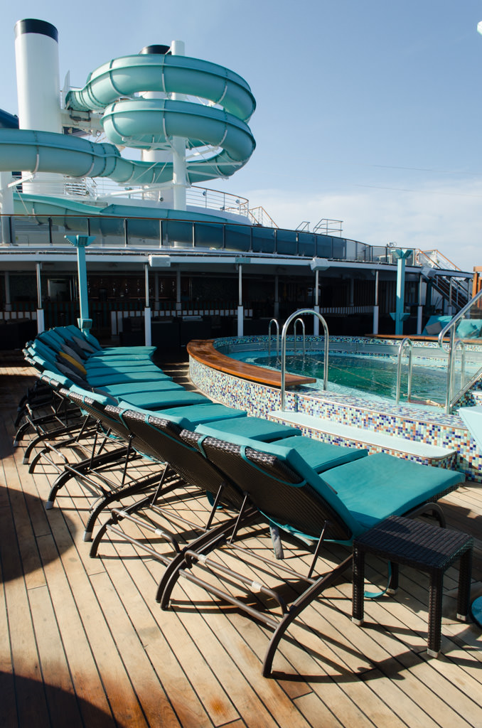 Serenity also features plush loungers, a dedicated swimming pool, hot tub, and what I consider to be the best views on the ships. Photo © 2015 Aaron Saunders