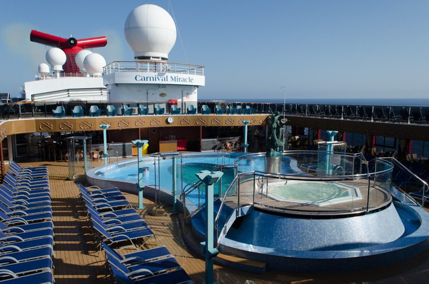A gorgeous morning awaits guests aboard Carnival Miracle...Photo © 2015 Aaron Saunders