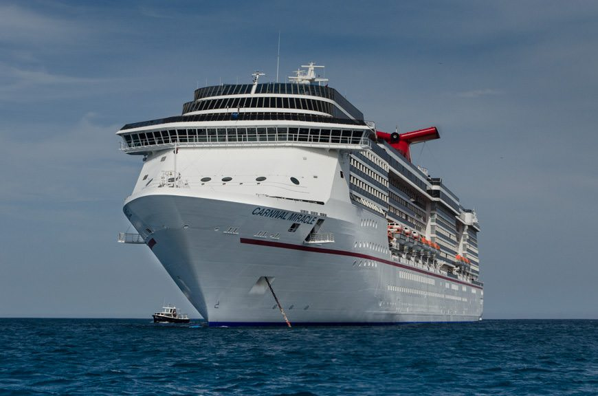 The sleek Carnival Miracle, at anchor off Cabo San Lucas, Mexico, on June 1, 2015. Photo © 2015 Aaron Saunders