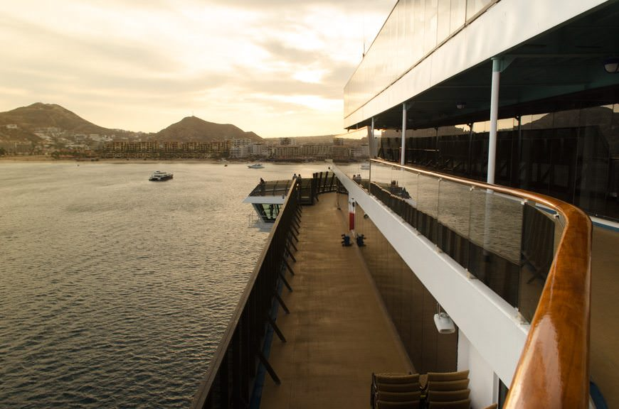 Sunset off Cabo San Lucas, as seen from Deck 10, forward. Photo © 2015 Aaron Saunders