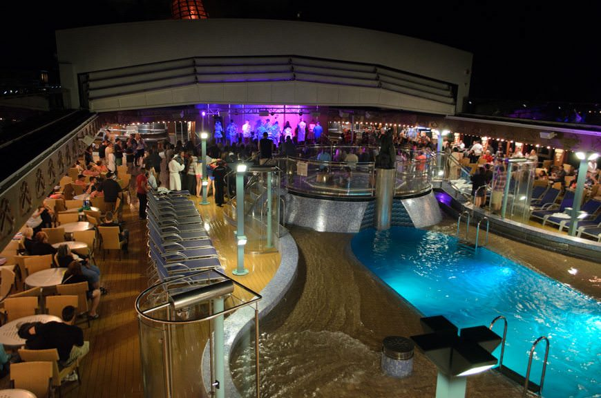 Guests party the night away with Carnival's late-night deck party on Lido Deck. Photo © 2015 Aaron Saunders