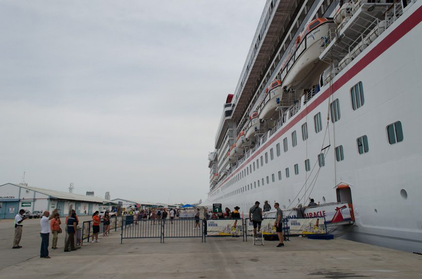 Guests disembark Carnival Miracle on a hot and humid day in Mazatlan, Mexico on Tuesday, June 2, 2015. Photo © 2015 Aaron Saunders